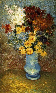 1887 Vincent Van Gogh   Fleurs dans un vase bleu  Huile sur Toile    61x38 cm  Otterlo, Kröller-Müller Museum