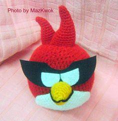 Patrón Gratuito de Amigurumi: Angry bird versión espacial - Pájaro rojo (también conocido como Súper pájaro rojo)