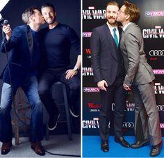 "Robert Downey Jr. kissing Chris Evans on the ""Captain America: Civil War"" press tour, April 2016."