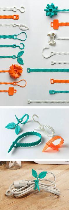 3D geprinte kabelbinders door Matthijs Kok voor Cubify.