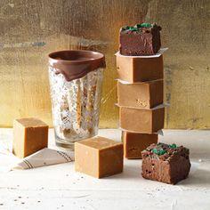 Romerige vanielje-fudge en sjokolade-en-peppermint-crisp-blokkies