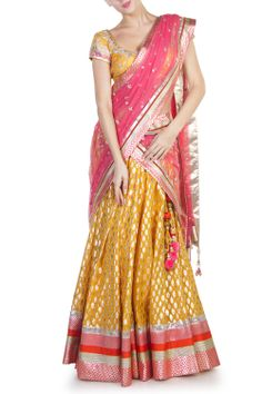 Anita Dongre Yellow cotton brocade lehenga
