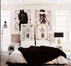bed with faux fur throw