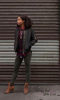 Black Bomber Jacket | Melanin Girl Style | Layered Fashion | Black Fashion Blogger