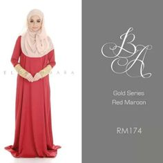 | Gold Series- Red Maroon <3 | RM 174= $52.60 USD | This would be so pretty to wear for nikah/walimah! {Go check out @aidynig on Instagram for more of these beautiful abayas/jubahs she's selling!}