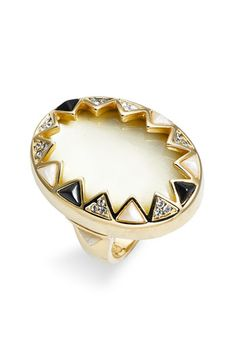 House of Harlow 1960 Enamel & Crystal Sunburst Ring $75