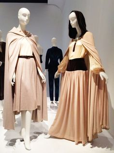 Left to Right    Halston   Caped enesemble, wool, 1970-71, New York   Saint Laurent Rive Gauche   Caped ensemble, wool, velveteen, and nylon, 1976, France / The two cape ensembles (pictured below) are a perfect example of how Yves Saint Laurent and Halston responded to the decade with similar stylistic ideas, yet stayed within the distinct parameters of their respective design vocabularies. / Neon Esquire / #YSLhalston