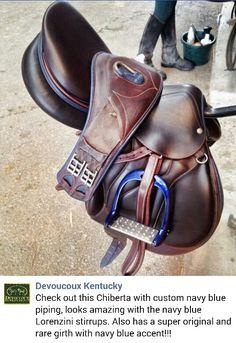 Devoucoux chiberta saddle custom navy blue piping