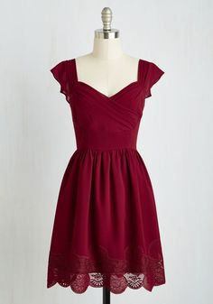 Let's Reminisce Dress in Cranberry - Red, Solid, Lace, Party, A-line, Short Sleeves, Woven, Better, Variation, Mid-length, Valentine's, Exclusives