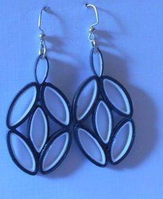Dark Gray and White  Handmade Paper Dangle Earrings Upcycled wearable Paper Art #Handmade #DropDangle