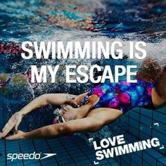 Swimming is my escape. When I dive into the water I forget about my daily problems and stresses. Swimming Memes, Swimming Tips, Swimming Benefits, Competitive Swimming, Synchronized Swimming, Swimmer Girl Problems, Swimming Motivation, I Love Swimming, Water Polo