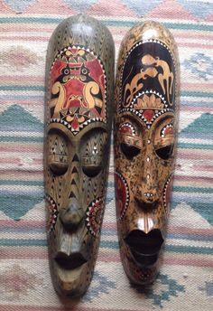 PAIR OF GENUINE ETHNIC TRIBAL HAND CARVED BALINESE WOOD LONG MASKS MOP INDONESIA