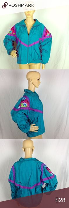 Vintage Watercolor Shoulder Windbreaker Medium Excellent pre-owned condition. small pinkish colored stain under collar fold. See last picture in top right. Laura Katherine Jackets & Coats