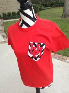 University of Houston front pocket tshirt on black white chevron. Adult and youth sizes please specify
