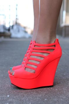 Strappy Neon Coral Wedge | UOIOnline.com: Women's Clothing Boutique