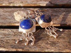 Boucles d'oreilles Lapiz Lazuli Afghan Argent Massif : Boucles d'oreille par indigual