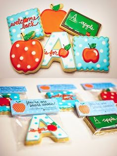 A is for apple and chalkboard cookies with adorable packs. - links to http://www.whipitgoodcookies.com/ which is a non-working site.