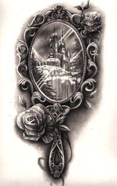 hannahfalveyart: Beauty and the Beast inspired mirror tattoo design June 2014