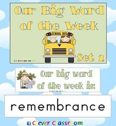 Big Word of the Week Set 2 - Reading Strategy Approach - 16 pages $