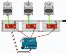 printer design printer projects printer diy Arduino Arduino three_stepper_wiring you can find similar pins below. We have brought the best. Stepper Motor Arduino, Automatic Blinds, Cnc, 3d Printed House, Diy 3d, 3d Printer Projects, Home Automation, 3d Printing, Wire