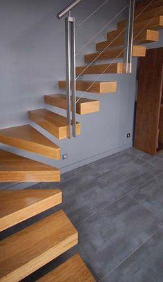 Escalier quart tournant / marche en bois / suspendu / sans contremarche KONSOL : KON002 KOZAC
