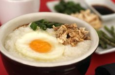 simplest slow cooker congee. jook. porridge: 1 c white rice 8 c chicken broth or water + 1/2 tsp salt  cook on low for 8 hours  top with goodies such as shredded meat, poached egg, scallions, sesame oil, tamari....