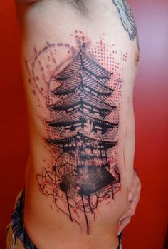 Tattoo by Xoïl at Needles Side Tattoo in Thonon-les-Bains, France    I love the pointillism, the scraggly design lines and the details in the pagoda. so beatufiul!