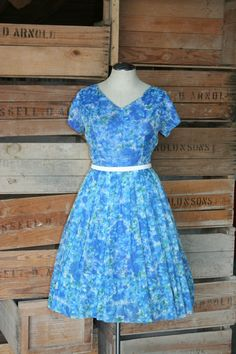Press One for English - Blue Floral Chiffon Dress - 1950s 1960s Vintage Party Dress - 38 Bust by CallMeChula on Etsy https://www.etsy.com/listing/196662443/press-one-for-english-blue-floral