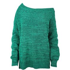 Oops Outlet Women's Off The Shoulder Chunky Knitted Oversized Jumper (315 ZAR) ❤ liked on Polyvore featuring tops, sweaters, shirts, oversized jumper, green shirt, oversized sweaters, over sized sweaters and oversized off shoulder sweater