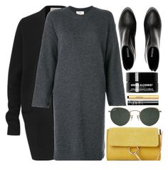"""""""October 4"""" by monmondefou ❤ liked on Polyvore featuring Amanda Wakeley, Ray-Ban, Ports 1961, Moda Luxe, Grown Alchemist, NARS Cosmetics, yellow, black and sweaterdress"""