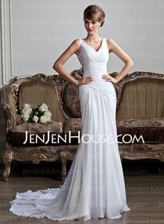 Sheath/Column V-neck Court Train Chiffon Wedding Dress With Ruffle (002011736) - JenJenHouse
