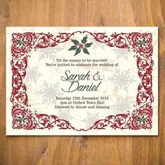 Unique wedding invitations by Lisa Loves Design, bespoke and off-the-peg designs available. Ranges include Brighton, festival, Christmas and more. Christmas Wedding Invitations, Unique Wedding Invitations, Party Invitations, Snowflake Background, Holly Leaf, Youre Invited, Love Design, Christmas Colors, Tis The Season
