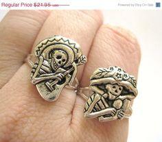 Day of the dead skeleton rings by SpotLightJewelry