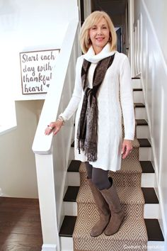Fashion over 50: Winter White Sweater Dress
