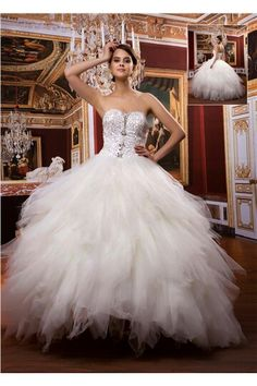 Attractive Ball Gown Sweetheart Floor-length Beaded Ruffles Dress www. Cheap Lace Wedding Dresses, Wedding Dresses 2014, Wedding Gowns, Prom Dresses, Wedding Bridesmaids, Wedding Ceremony, Tea Length Wedding Dress, Gowns With Sleeves, Beautiful Dresses