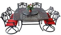 Patio Dining Set Outdoor Cast Aluminum 10 pc Palm Tree Dining Garden Bronze