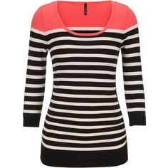 maurices 3/4 Sleeve Cinched Side Striped Sweater ($34) ❤ liked on Polyvore featuring tops, sweaters, long sleeved, shirts, pink, long sleeve shirts, scoop neck shirt, 3/4 length sleeve shirts, 3/4 sleeve shirts and long sleeve tops