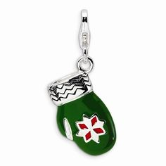 Sterling Silver 3-D Enameled Green Mitten W/Lobster Clasp Charm