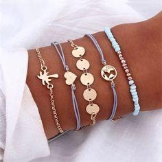 4 Pcs/ Set Knot Round Crystal Multilayer Adjustable Bracelet Set For Women Fashion Jewelry Tassel Bracelet, Heart Bracelet, Bracelet Set, Beaded Bracelets, Stacked Necklaces, Layered Bracelets, Stack Bracelets, Dainty Bracelets, Jewelry Sets