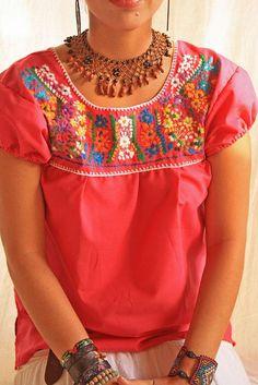 Rosa mexicano hippie túnica mini floral superior hermoso vestido bordado