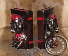 An African hand carved wooden Maasai bust couple bookend set that originates from Kenya and has been hand carved in the wonderful bright red colors of the Maasai Mare tribal people Tribal People, Kenya, Hand Carved, Bookends, Carving, African, Color, Wood Carvings, Colour