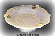 Whimsical Bliss Studios - Lucy's Blue Lace Pedestal Bowl
