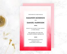 Wedding Invitation Ombre Watercolour Template by WednesdayDesigns Diy Wedding Invitations Templates, Simple Wedding Invitations, Invites, Simple Weddings, Watercolour, Wednesday, Easy Diy, Photoshop, Handmade Gifts