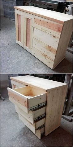 To bring about your house outlook with something really unique and artistic, then having the taste of wood pallet chest of drawers or cabinet is the drastic idea. Give a quick look at this image! Here a pleasant and a unique piece of the wood pallet cabinet has been finished with the edgy hues and amazing cuts.