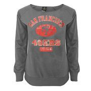 Juniors San Francisco 49ers Gray Flashdance Off-the-Shoulder Sweatshirt