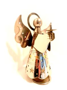 Vintage Angel Figurine Silver and Brass by happenstanceNwhimsy, $17.00