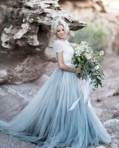 Something Chic: 24 Blue Wedding Dresses For Your Happy Wedding ❤ blue wedding dresses lace top tulle skirt chantellauren #weddingforward #wedding #bride #weddingoutfit #bridaloutfit #weddinggown
