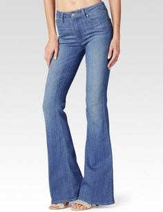 Paige Denim high rise bell canyon lovelight: Sexy meets retro in this flare jean featuring a light wash and 10″ high rise.