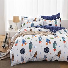 Kids' Duvet Cover Sets - Brandream Boys Galaxy Space Bedding Set Kids Bedding Set Duvet Cover Full Queen Size *** Find out more about the great product at the image link. Teen Bedding Sets, Duvet Bedding Sets, Cheap Bedding Sets, Cotton Bedding Sets, Comforter Cover, Luxury Bedding Sets, Bedroom Sets, Cotton Duvet, Cotton Fabric