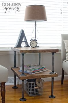Industrial pipe side table easily made with pipe fitting and a drill.  The shelving could be bought from various materials available at Lowes or something found around your house.  So inexpensive and yet so cool!